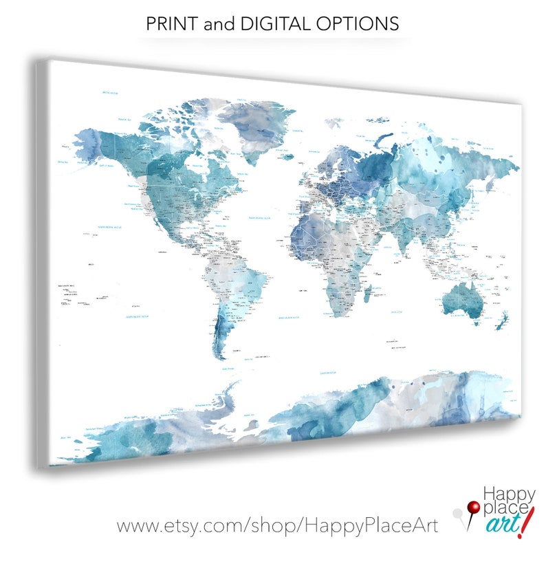Soft color Print Highly detailed map Cities and state names image 0