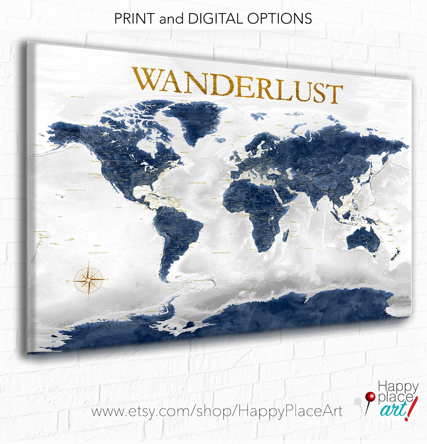 Navy and gold world map canvas or push pin map of the world navy and gold world map canvas or push pin map of the world wanderlust adventure awaits personalized custom text world map office wall art gumiabroncs Gallery
