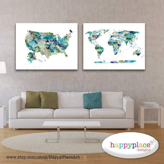 World and USA map set, United States map, Turquoise, watercolor style, Push pin map, World Map and US Map poster, map art prints, push-pin