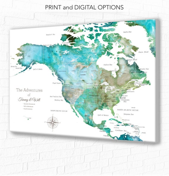 North America And Canada Map.North America Map With Caribbean Usa Canada Map For Family Etsy