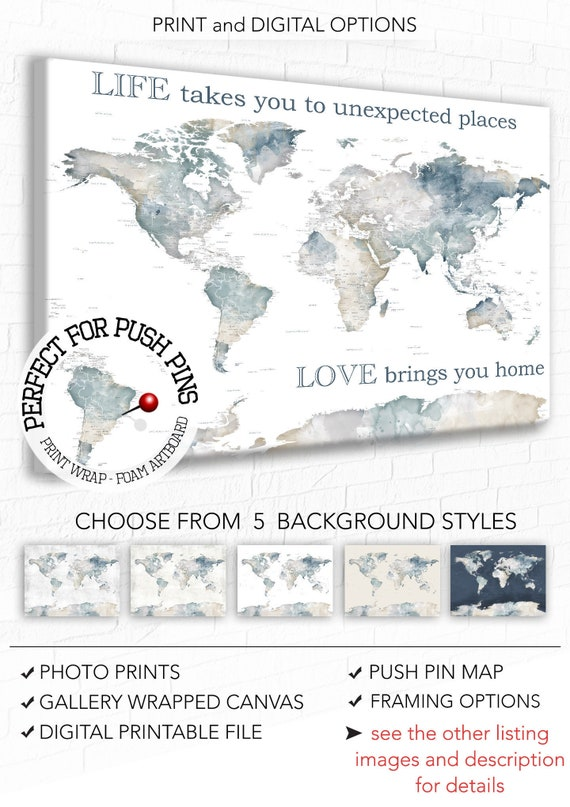 Push Pin Wall Map of the World, Custom Words, Text of your Choice, Romantic  World map, Watercolor Minimalist Style World Map, Big Wall Art