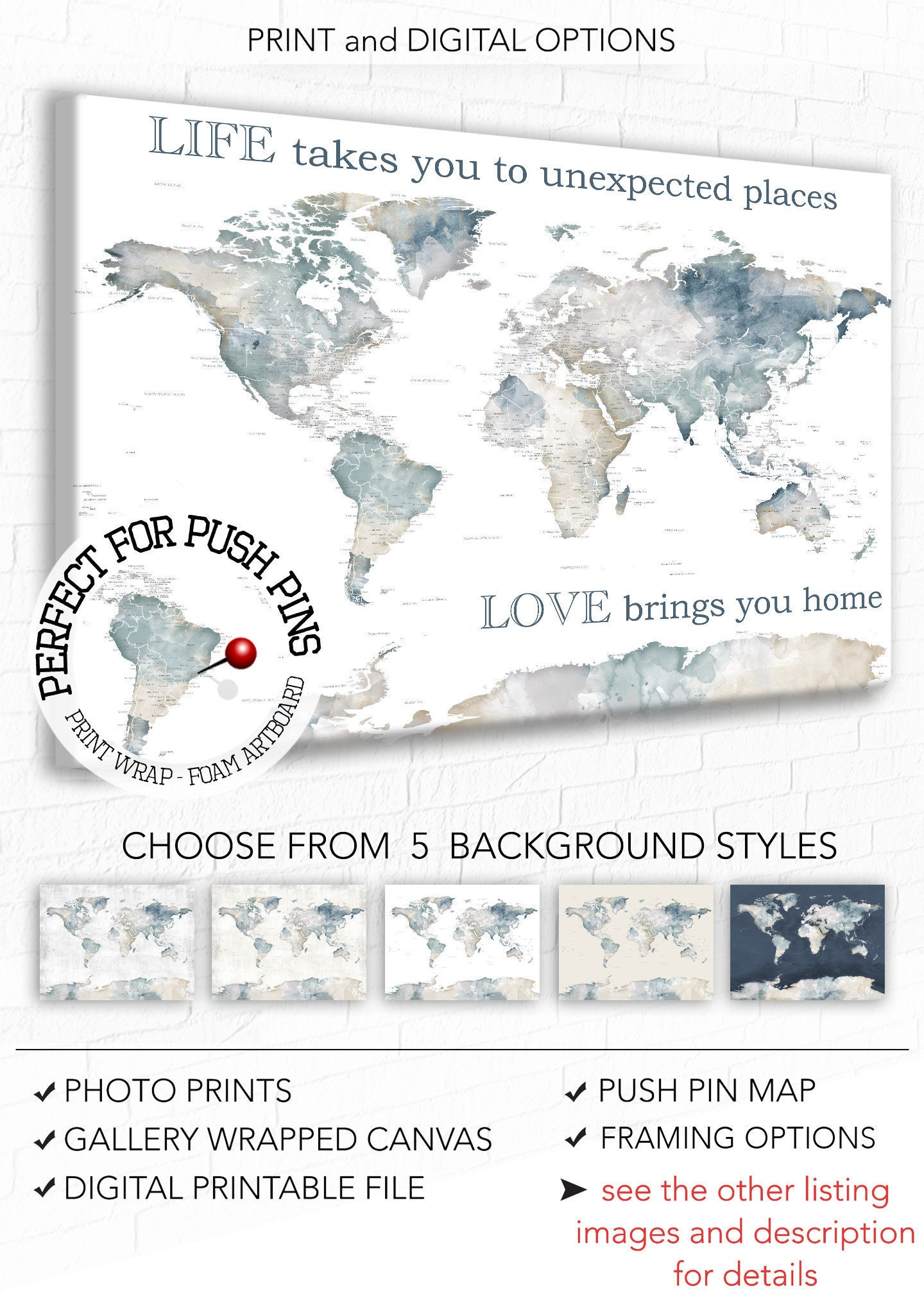 World map wall art with personalised text neutral color map with world map wall art with personalised text neutral color map with words life takes us quote watercolor map art for wedding map for couple gumiabroncs Image collections