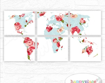 Vintage Rose Large World Map with red, pink & blue. Six 11x14in printable panels | instant download. Abstract grid World Map Wall Art Print