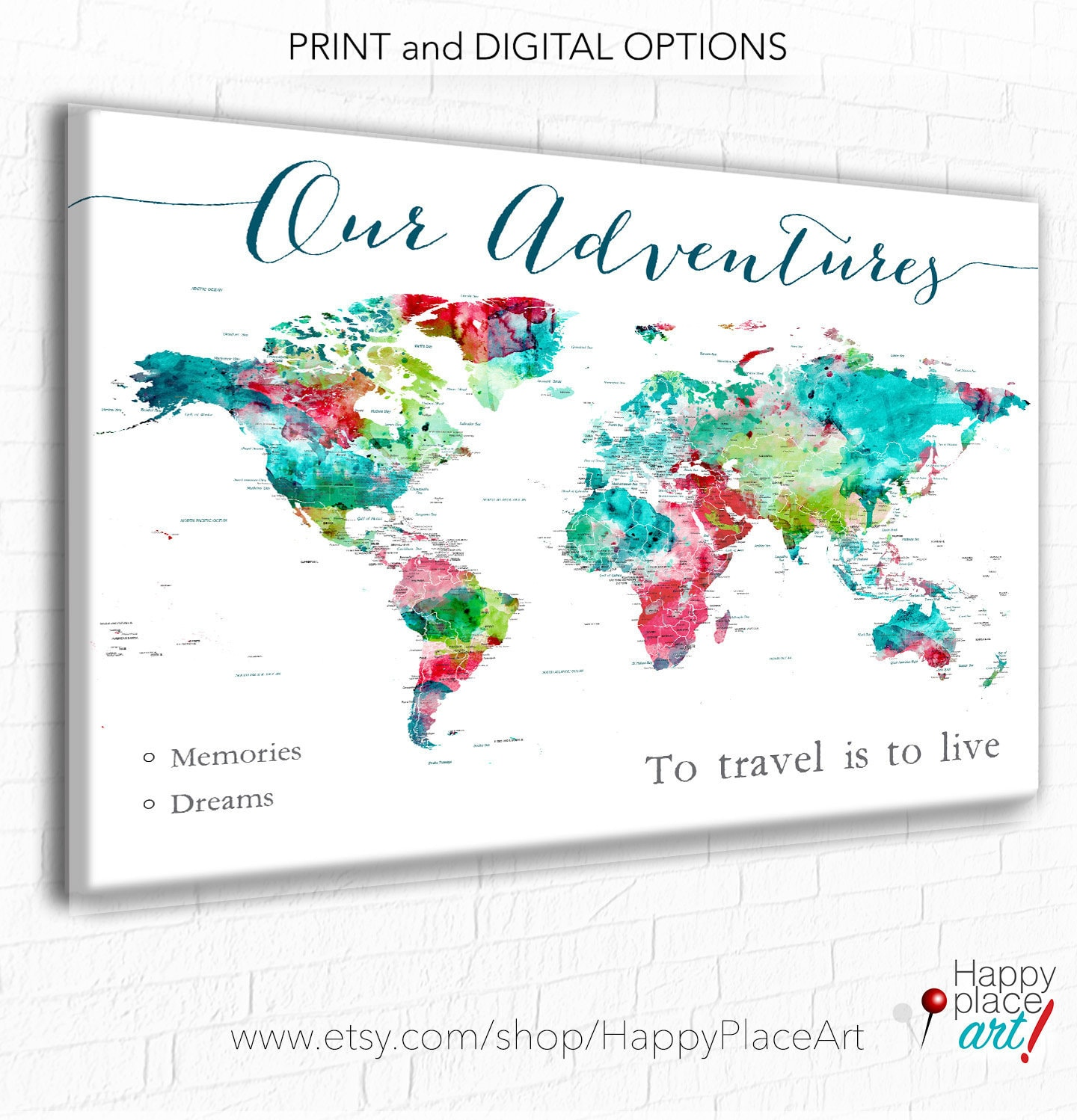 Our adventures travel world map wall art push pin maps large world our adventures travel world map wall art push pin maps large world map poster print adventure awaits map personalized map with legend gumiabroncs Images