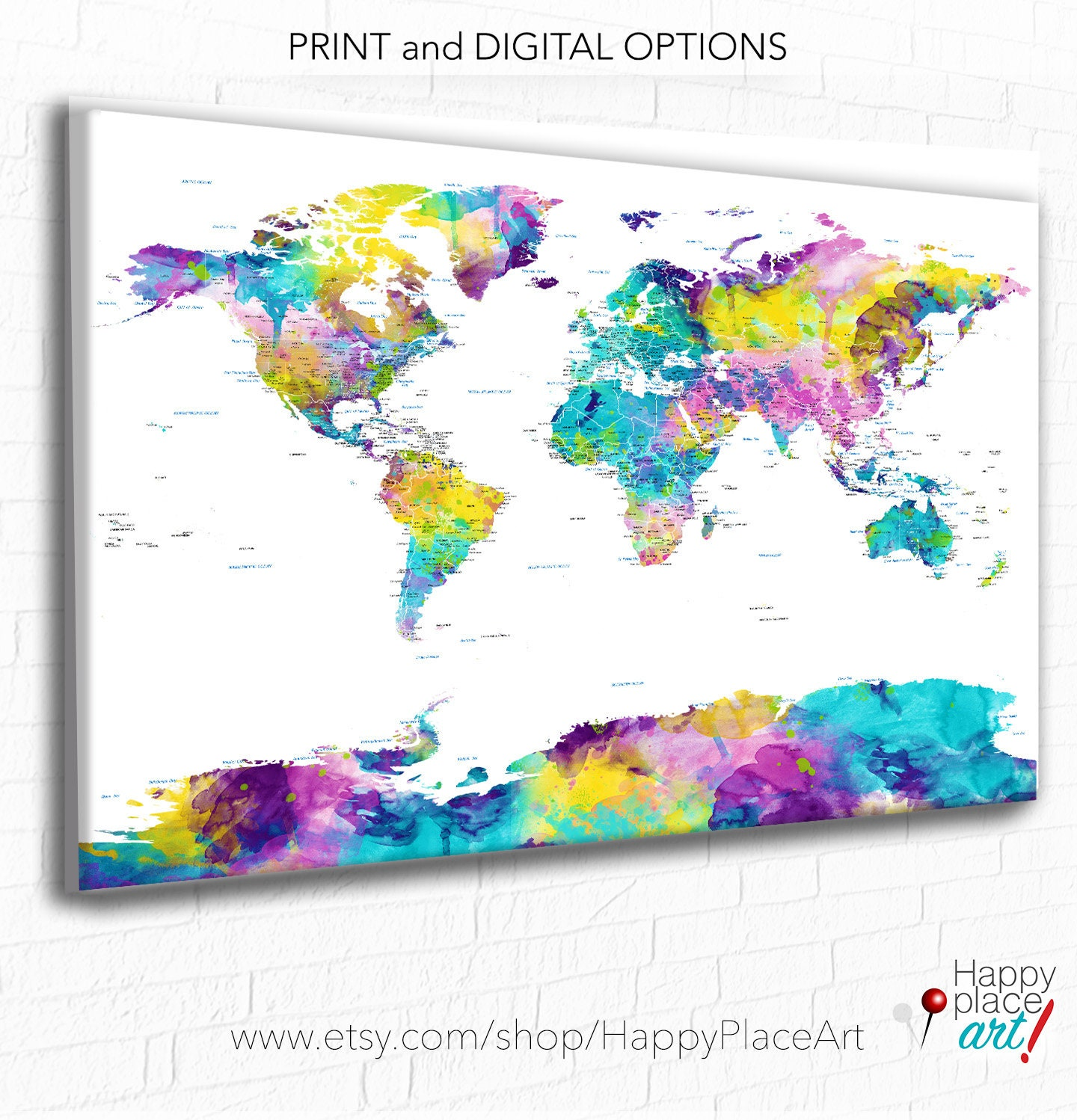 World Map Wall Art Mark Travels With Pins World Map Print Or - World map to mark travels
