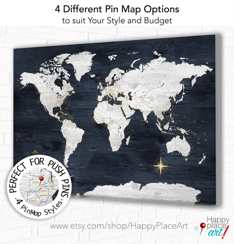 Push Pin Travel Map, Large World Map Canvas, World map with legend,  Personalized Travel Map, Our Adventures, Framed Pin Maps Large World Map