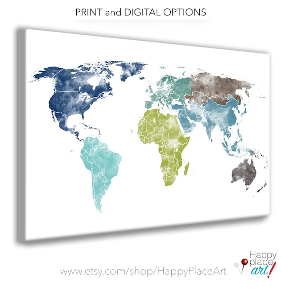Green and Blue World Map Watercolor Texture, World Map Poster, Blue and Gray for Boys room, Map Print, Large Map of Continents, Teenage art