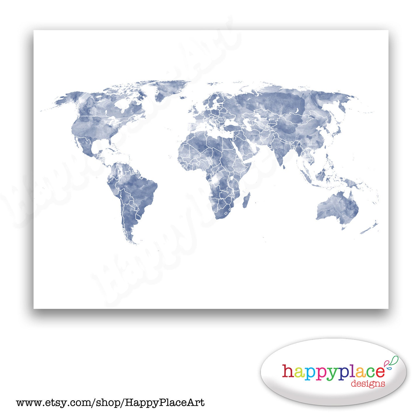 Blue and White World Map Print for Instant Download. 8x10 or | Etsy
