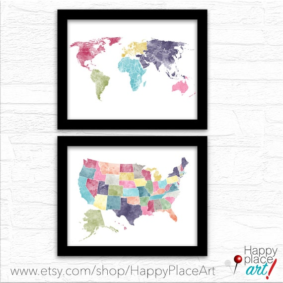 World and USA map set, Download or Print, Watercolor USA Travel map. Framed map of United States, Push Pin Map, Road Trip Map, PushPin Maps