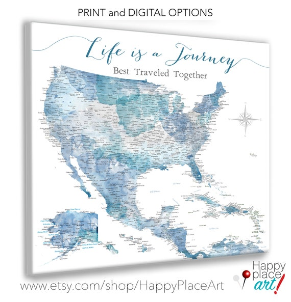 Large Caribbean, USA Canvas Map, Family Travel Map Second Cotton Anniversary Gift, Sailing Bahamas Print Push Pin Adventure Map for Husband