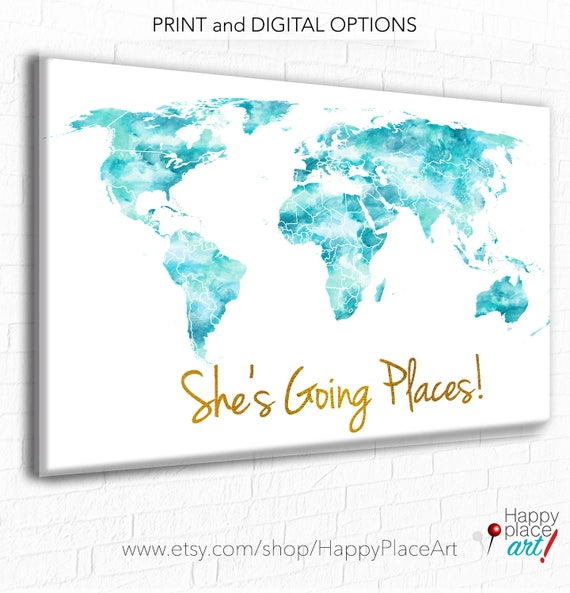 She\'s Going Places World Map Aqua and Gold World Map | Etsy