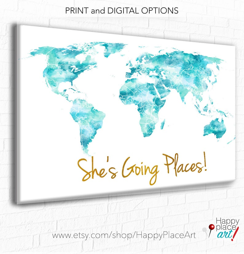 She S Going Places World Map Aqua And Gold World Map Etsy