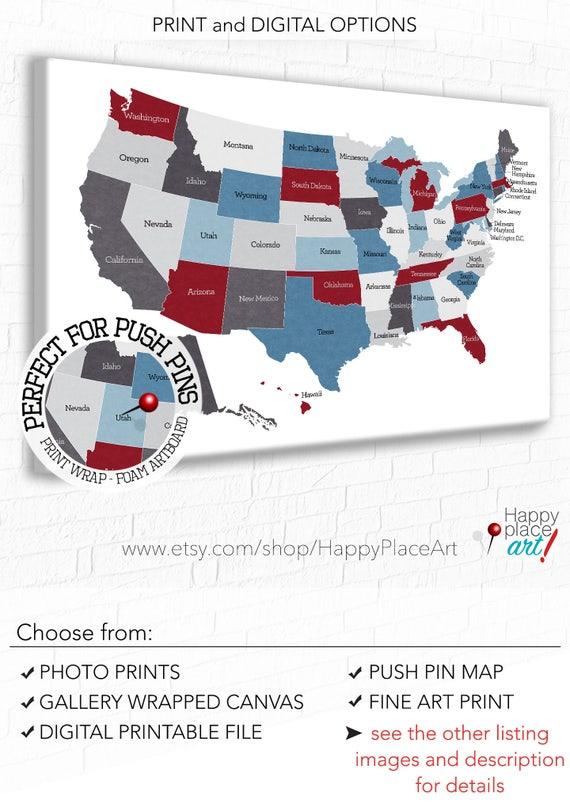 USA Map Retirement Gift US Travel Map Push Pin usa map Map | Etsy