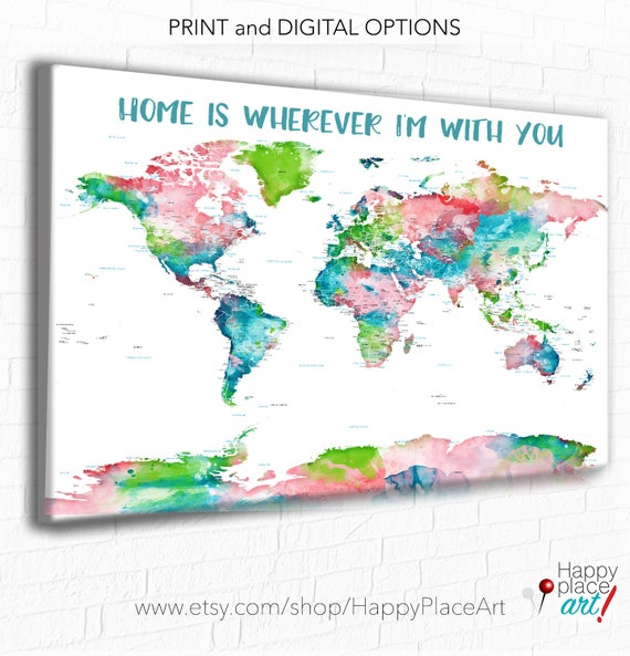 World Map Push Pin, Colorful world map, Personalised World Map, Added Text, World map with message, Personalised Print for, Coral and Aqua