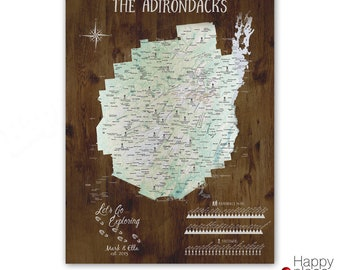 Adirondack Mountain, High Peaks and Fire Towers, Personalized Hiking Poster, Canvas or Pin Map, 46er Peak Bagging Canvas, List of Mountains