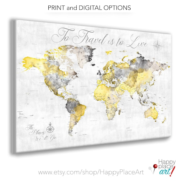 Gift for Boyfriend, Romantic Personalized Print. Yellow Map of World with extra details of USA and Canada states, Canvas, Print or Pin Map