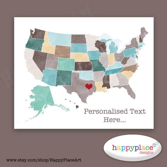 Custom USA Map, great as Wedding map, large travel map, canvas wall art. Printable Digital File. Large Art, Home or Office Custom Wall Art