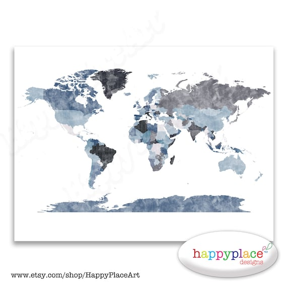 Large Grey World Map Wall Art Poster with lovely printed texture. Printable Digital Watercolour Map. Personalised Text avail on request.