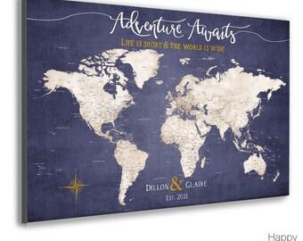 Large Push Pin Map, Customized Pin Board Mounted on Foam Board, Canvas or Map Poster Print, Modern Map Print, Purple & Gold Personalization