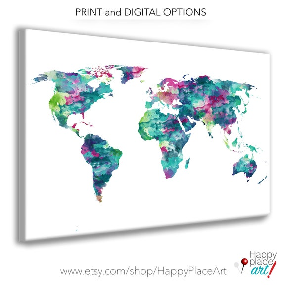 Teal world map, World Map, World Map Poster, Large World Map, Personalise  world map, Push Pin Map, Travel Gift, world map push pin