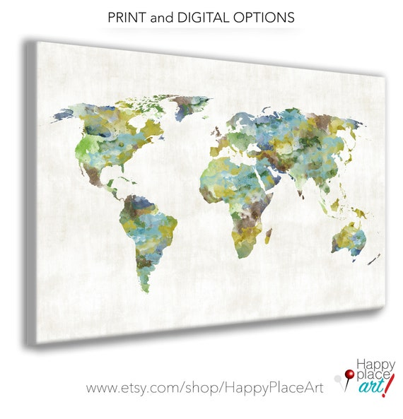 Large World Map Canvas, Print or Printable. Personalize it with a Romantic Message for Couple, Family Travel Map, Framed, Print or Canvas