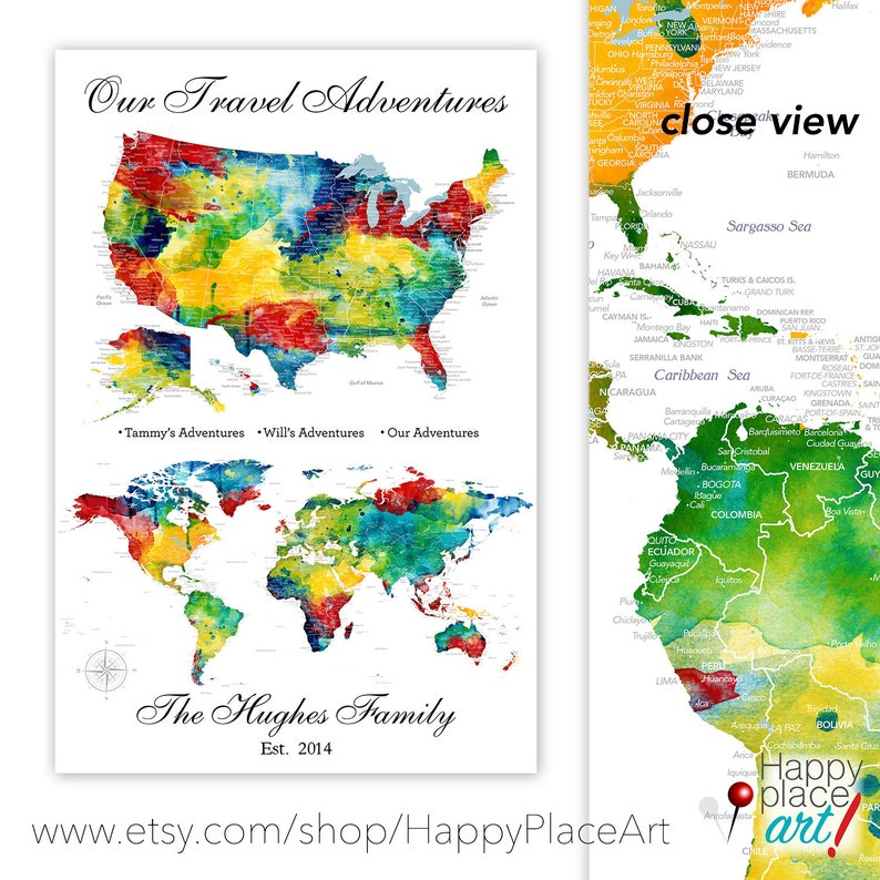 USA and world map, 2 Map Set as ONE Print, Push Pin USA Map & World Map  Pair, Gift for Husband, Travelling Military Family Personalize gift