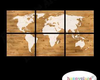 Cream World Map Print with Timber Wood Grain Texture. 6 panels with the wood grain and cream world map. 6 Printable jpegs.