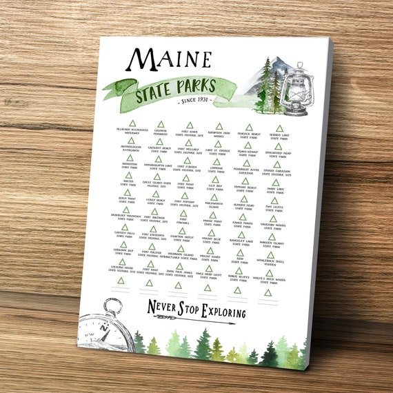 Hiking in Maine State Park Checklist, ME State PinBoard, Maine Gift, Visited State Parks List Personalize for Gift for Hiker, Maine Wall Art