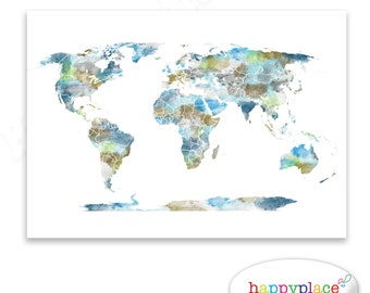Watercolour World Map Poster. Large World Map with Watercolor texture. Digital file for instant download in various sizes. incl 11x14, 20x30