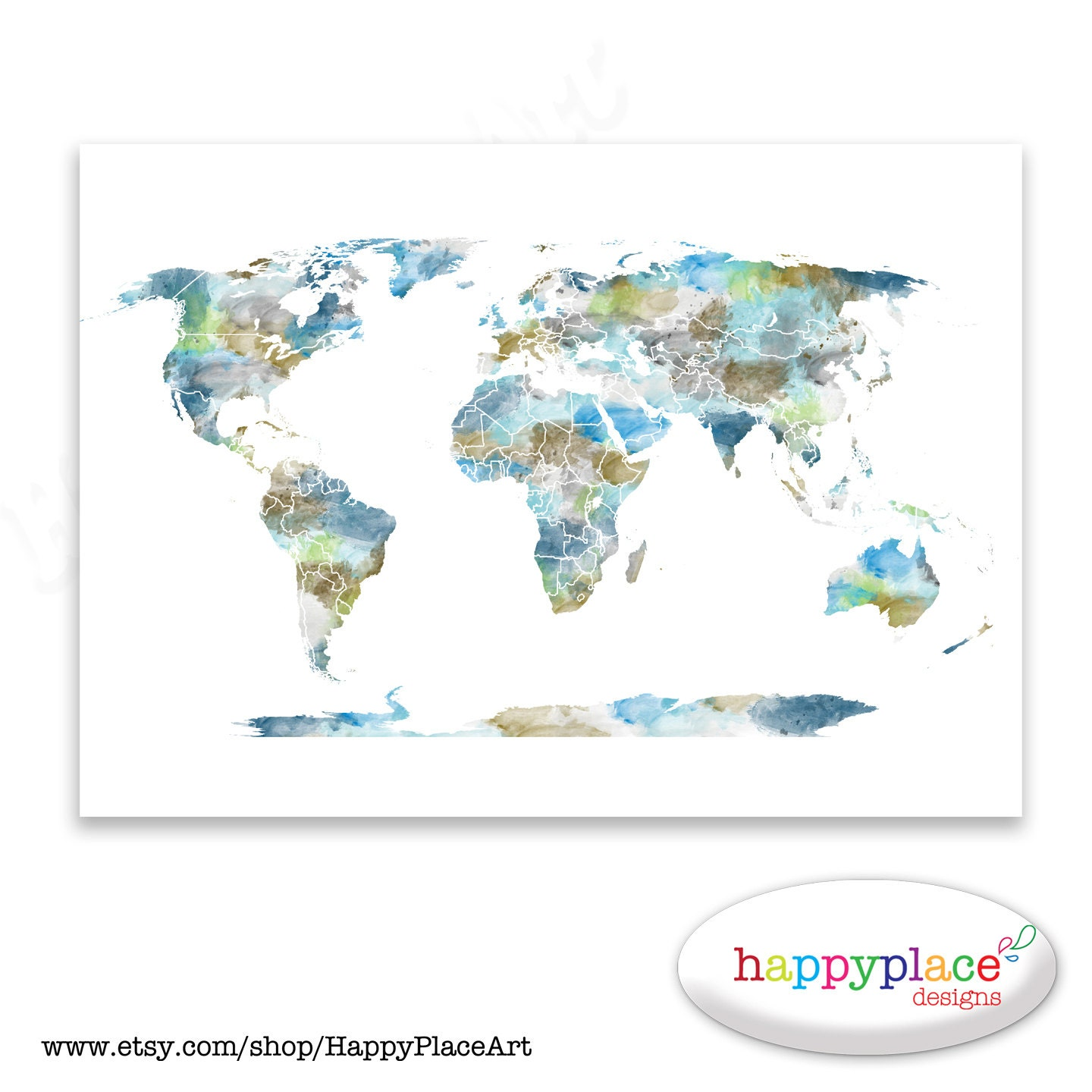 Watercolour World Map Poster. Large World Map with Watercolor   Etsy
