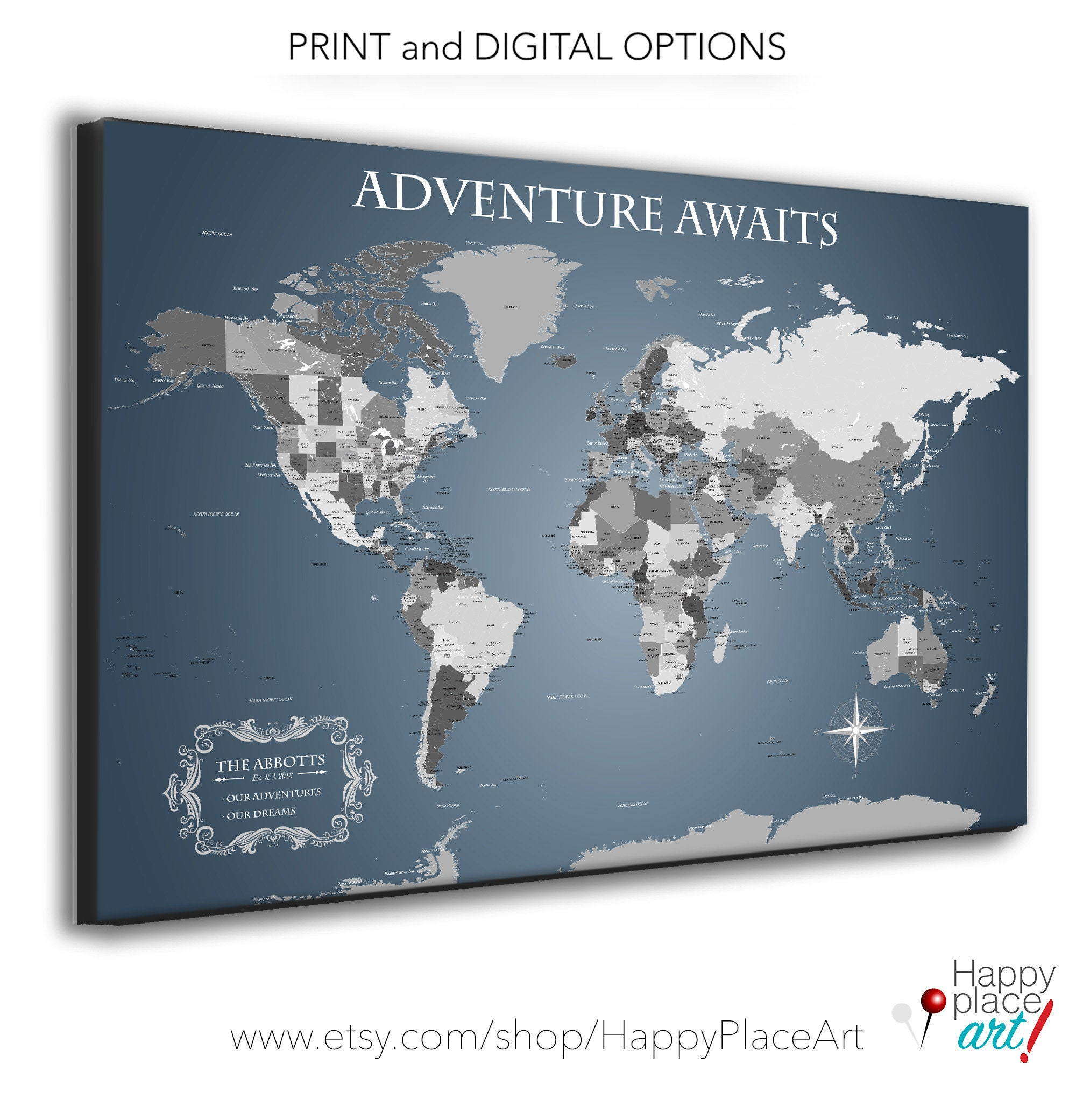 Neutral Office Wall Art, Executive style World Map, Personalize ...