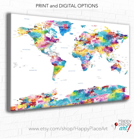 Pastel Watercolor Map, Huge World Map, World Map, Soft Colours, Art Map, Country, States, Cities included, Pastel Map, Push Pin, Travel Map