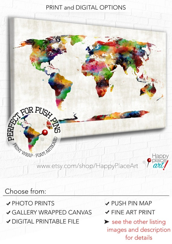 Push pin map, Colourful Watercolour, World Map Art, office art, Bedroom wall art, Gift for traveller, PUSHPIN world map, or world map poster