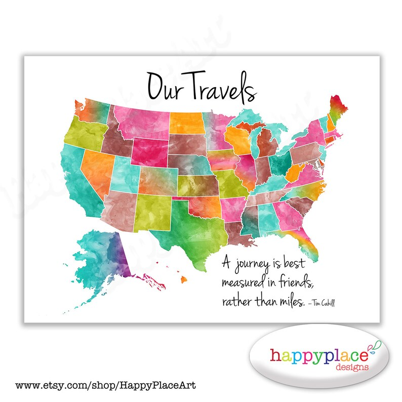 Our Travels USA map printable  Bright colourful watercolor style with  modern, suit push pin USA map idea  Girl's bedroom USA map, pink, aqua