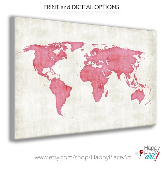 Pink Textured World Map Poster, Print or Printable Map, Grunge World Map. Distressed map, Girls World Map Art, Pink World Map, Vintage Pink