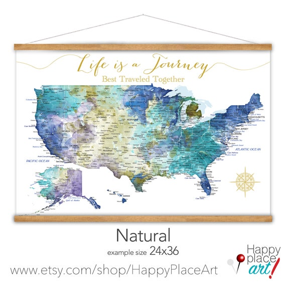 Wedding Gift Idea, Romantic Canvas Print, USA map on canvas, Detailed Modern Design USA Travel map for Anniversary, RV Road Trip Adventures