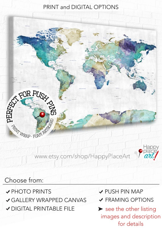 Push Pin Map of the World Artistic Map Canvas Art, Framed Bedroom Wall Map Canvas Art on map curtains, cool world map art, map of western united states, gold glass art, map drawing art, united states map art, map of eastern united states, map color art, map framed art, brown abstract art, map home decor, map modge podge art, map mediterranean, map design, diy map art, map art prints, map pencil art, map border art, map wall decals, map food art,