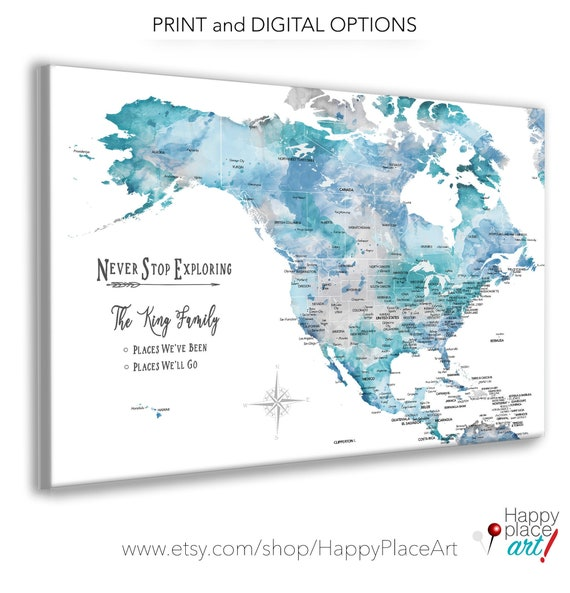 North America and Caribbean Map,  Wife Gift, Anniversary Map, Family RV Travel Map, Push Pin Map of North America, Gift of Family Memories