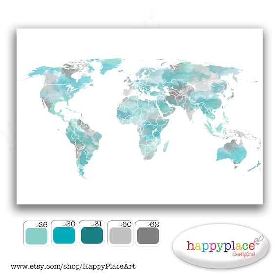 Aqua Large Travel World Map, Digital Printable Map with Watercolor Texture. Choice of colors, text, size. Great travel map or heart map