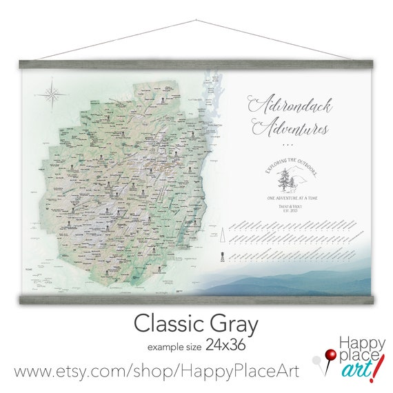 Adirondacks Adventure Map, Personalized New York State Map, Unique gift for Husband Gift for Hiker Friend, Custom Adirondacks Canvas Map