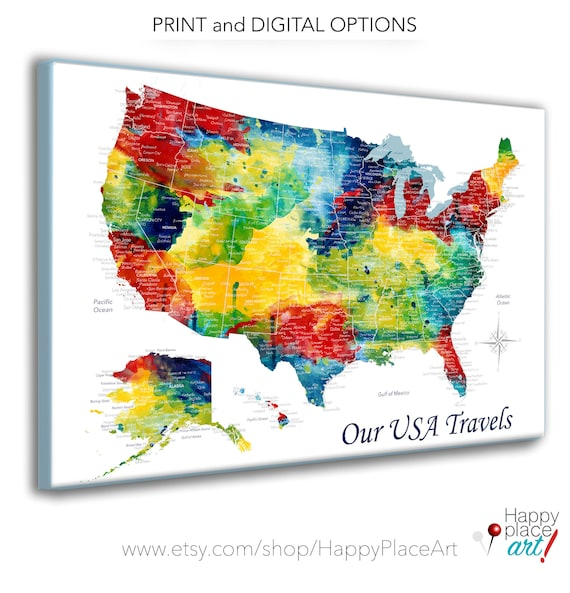 Detailed City and State Names on Map of USA for push pins, USA Travels, Art  Gift for Traveler us Wall Map Poster USA Map Print for children