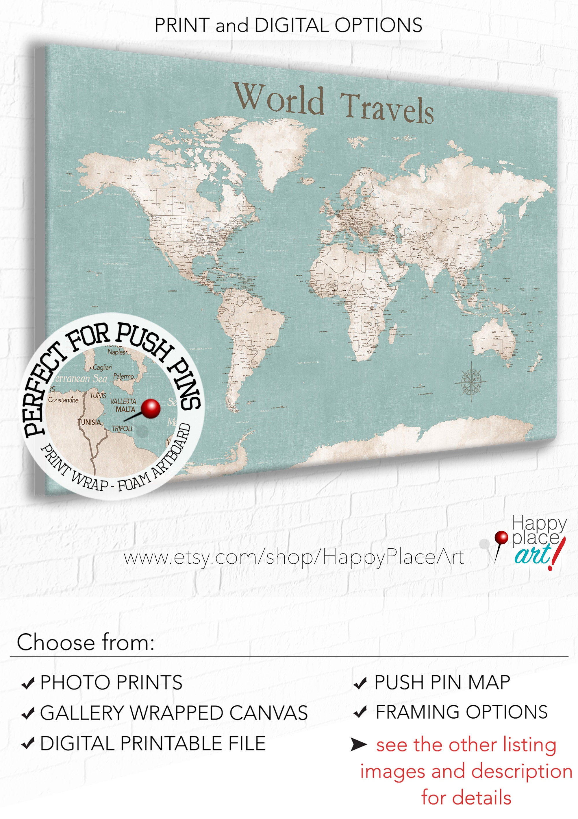 Push Pin Map of the World to Pin Travels Personalize with a Custom Key Wording Map Journal Travels Anniversary Gift for Her World Canvas