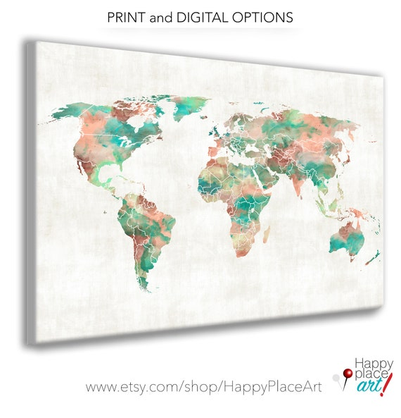Very Large World Map, Custom World Map, Large Printable Watercolor, World Map Poster, Personalized Map, Travel Map Idea, Wedding Guestbook
