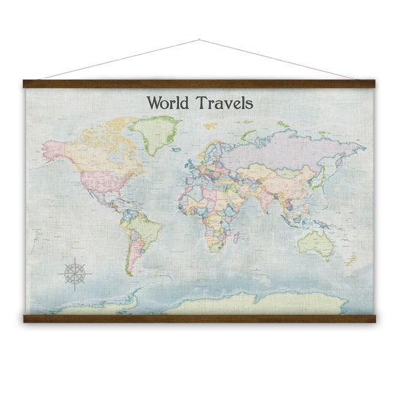 Vintage Style World Map Wall, Map of the World Hanging Canvas, Personalized Travel Anniversary Gift for Wife Push Pin Map Family Adventures,
