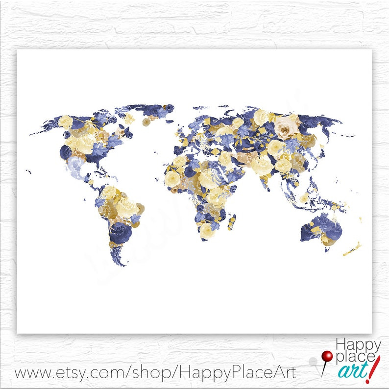 Floral world map Abstract world map bridal shower print image 0