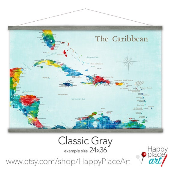 Any Title - Personalized Sailing Map, Detailed Caribbean Map, Gift Traveling friend, Office Wall Map, Canvas map, Caribbean Cities & Islands