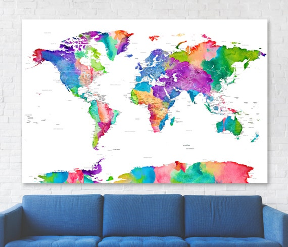 Large Bright Colorful World map with city, country and ocean labels. Huge Push Pin Map for Family Travels. Gender Neutral Playroom Wall Map