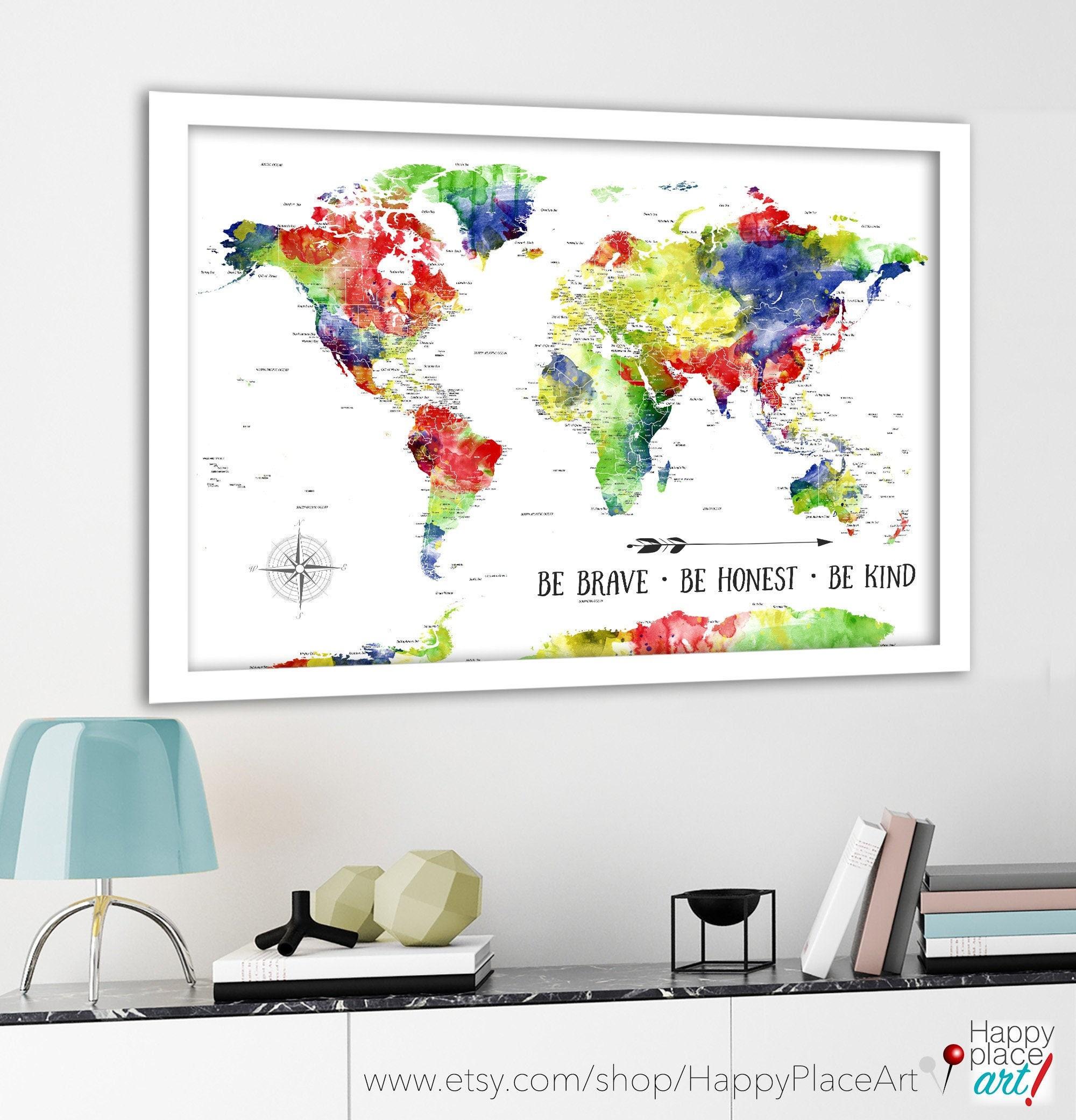 Honeymoon Map Framed Watercolor Map Bahrain Watercolor Map Framed ...