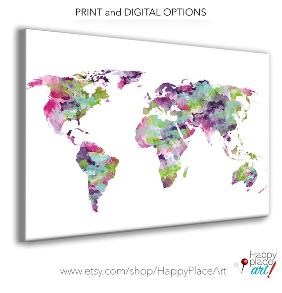 Funky World Map, Pink and purple World map. Bright color World Map Poster, Teen Print, Dorm Wall art. Large Pin Travel Map, Gift for travel