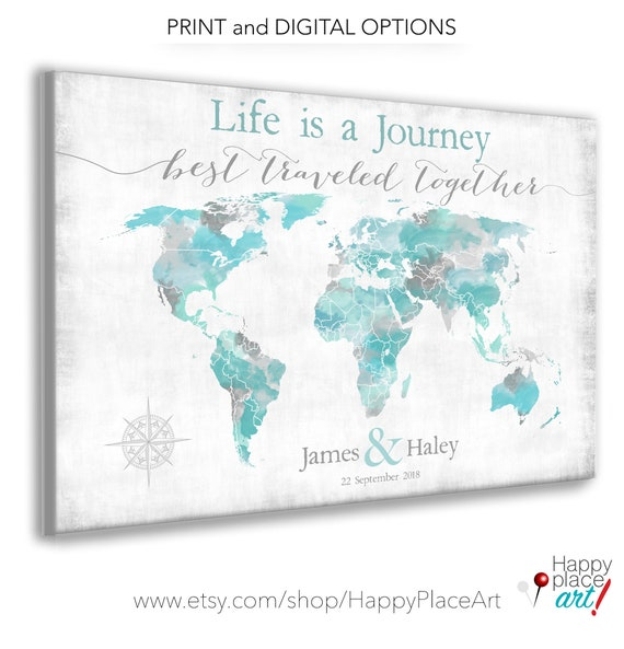 Life is a Journey Personalised Anniversary Gift with Date, Names, Own Words, Large Push Pin map of the World Map for Pins, Travel Map Aqua